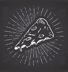 pizza slice vintage label hand drawn sketch vector image