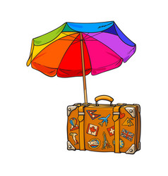 Rainbow colored open beach umbrella and travel vector