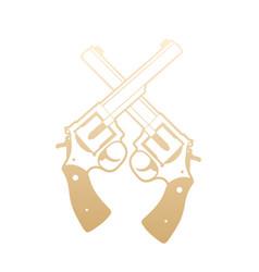Revolvers crossed handguns gold over white vector