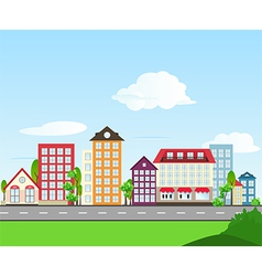 Road color house day vector