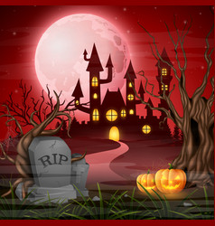 Scary castle with pumpkins on the full moon vector