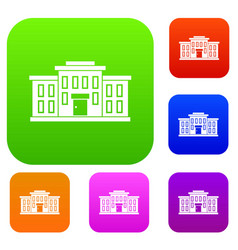 School building set collection vector