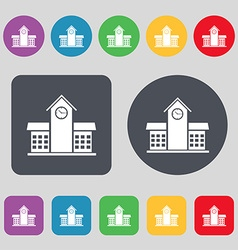 School Professional Icon sign A set of 12 colored vector