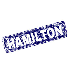 Scratched hamilton framed rounded rectangle stamp vector