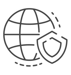 secured global data icon outline style vector image