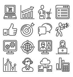 seo and internet marketing icons set on white vector image