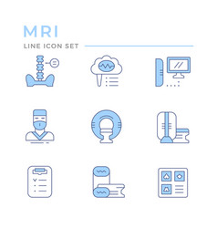 set color line icons magnetic resonance imaging vector image