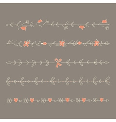 Set hand drawn floral elements vector