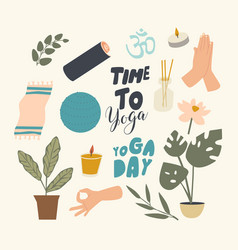 Set icons yoga theme fitball mat and potted vector