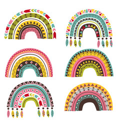 set isolated tribal rainbow part 1 vector image