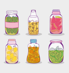 set of juice mason jars vector image