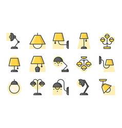 set of lamp icon filled outline icon vector image