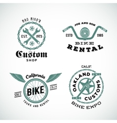 Set of Retro Bicycle Custom Labels or Logos vector image