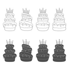 Set of with a birthday cake vector
