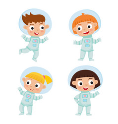 set with standing and flying astronaut kids vector image