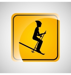 Ski person sign sport extreme design vector