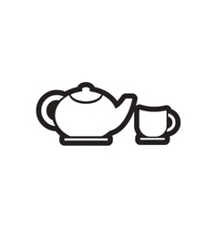 stylish black and white icon teapot and cup vector image vector image