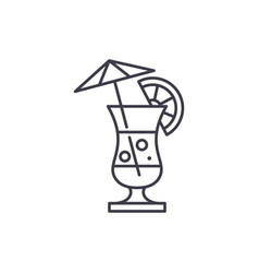 summer cocktail line icon concept summer cocktail vector image