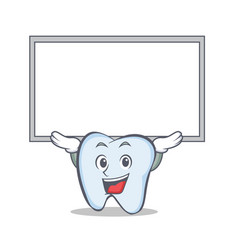 tooth character cartoon style with board vector image