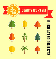 tree set nine icons with red tape vector image