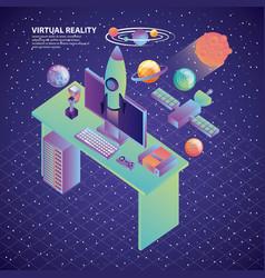 Virtual reality desk computer rocket galaxy vector