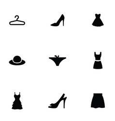 woman wear 9 icons set vector image