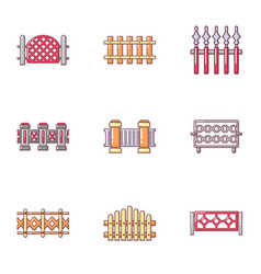 wooden fence icons set cartoon style vector image
