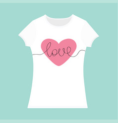 word love lettering pink heart t-shirt template vector image