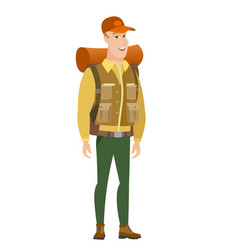 young caucasian happy traveler vector image