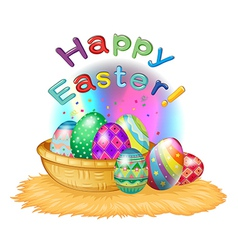 A happy easter greeting with a basket full of eggs vector image vector image