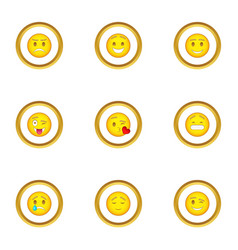 face with different emotions icons set vector image vector image