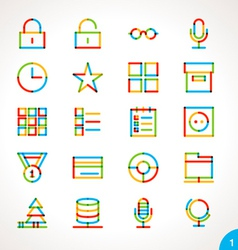 Highlighter Line Icons Set 1 vector image