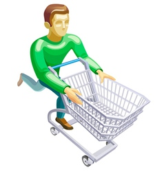 man with a basket vector image vector image