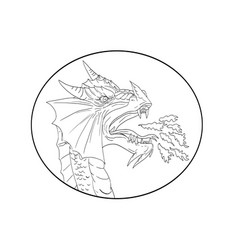 Dragon fire circle drawing vector
