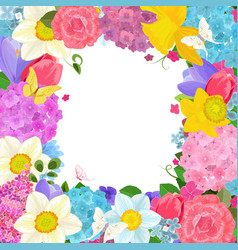 frame with colorful spring flowers for your design vector image
