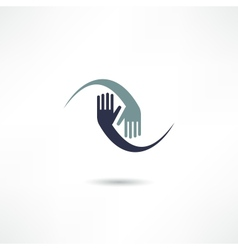 hands connecting icon vector image vector image