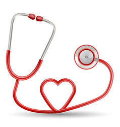 red stethoscope in shape of heart isolated vector image