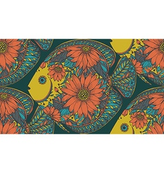 seamless pattern with beautiful hand drawn fishes vector image