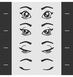 Set elements of female eye blink vector