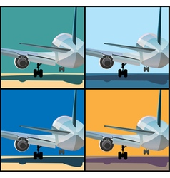 Airplane is landing or to take off vector image vector image