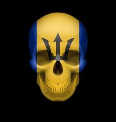 Barbadian flag skull vector image vector image