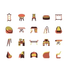 Flat color furniture icons vector image vector image