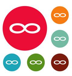 infinity symbol icons circle set vector image