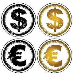 Rubber stamp set with dollar and euro symbols vector image