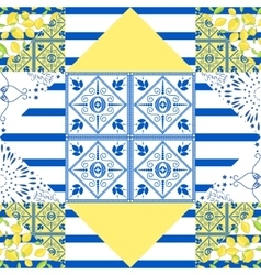 Seamless patchwork pattern Quilted fabric style vector image vector image