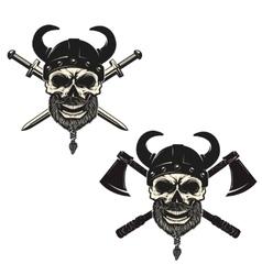 Set of skulls in viking helmets with crossed vector image