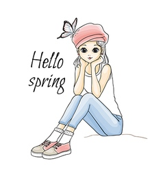 Cute young girl in pink hat vector image vector image