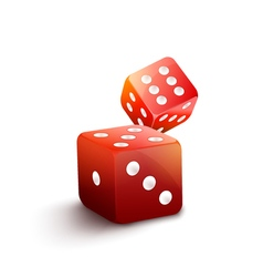 Red dice isolated casino 3d gamble background Two vector image