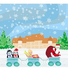 Santa Christmas Train - baby gifts and penguins vector image vector image