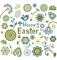 Set of Easter ornamental elements vector image vector image